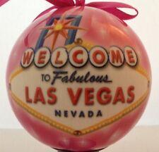 Las Vegas Sign Christmas Tree Ball Ornament Holiday Pink LED Light Up Hanging
