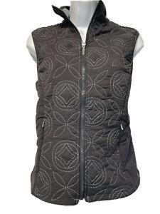 LUCY Activewear Women's Size S Gray Fleece-Lined Zip Up Embroidered Vest