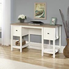 New Sauder Cottage Road Desk File Drawer Soft White with Lintel Oak Accent