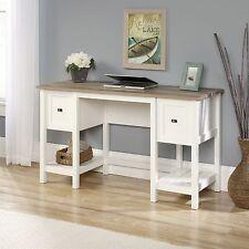 new sauder cottage road desk file drawer soft white with lintel oak accent
