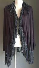 Hippy Chic Charcoal Grey Boho Lightweight Open Jacket w Fringe One Size