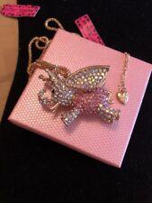 Betsey Johnson Necklace Elephant DUMBO Pink Gold Crystals Gift Box Bag