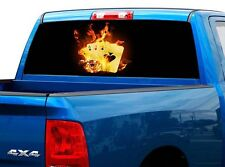 P526 Flaming Cards Poker Rear Window Tint Graphic Decal Wrap Back Truck Tailgate