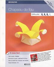 Origami pliage papier Fêtes et Anniv - Fiche Technique n°11 : Chapeau de fou