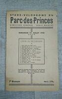 Stade Vélodrome du Parc des princes programme 1942