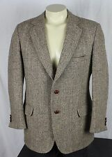 Harris Tweed Vintage 100% Wool 2 Button Sport Coat Blazer Tan Mens 40R