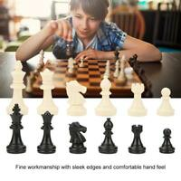 32 Tournament Chess Pieces Set Weighted Plastic Pieces with King Black&White /