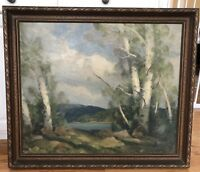 "Cecil Chichester Oil Painting On Canvas Landscape Birch Trees 25"" X 30"" Signed"