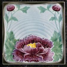 Jugendstil Fliese art nouveau tile Tegel Saargemünd Blüte Violett Seerose top