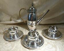 WMF Art Nouveau Silver Plate Coffee Pot Set Jugenstil German Rattan Handle 3 Cup