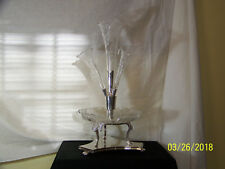 Antique Epergne CenterPiece Cut Etched Glass Sheffield SilverPlate Base