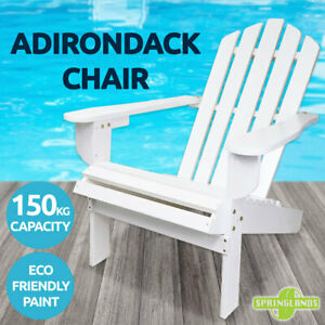 Adirondack Chair Outdoor Furniture Wooden Garden Beach Deck Lounge White Patio