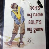 "Golf's My Game Counted Cross Stitch Kit 60389 8""x10"" Golfer Golfing Golden Bee"