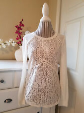 Xhilaration Beige Poly Cotton Knit & Lace Sweater Blouse Long Sleeve Sz. S