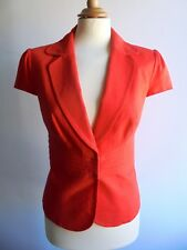 New M&S Poppy Orange Linen Mix Tailored Jacket Summer Marks and Spencer Size 10