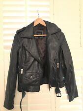 Dark Blue Biker Style Womens' Leather Jacket Barneys Original Size 10