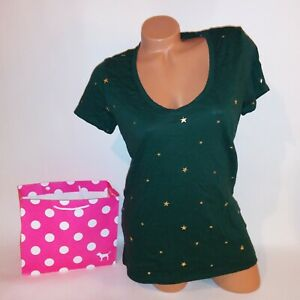 Victoria Secret PINK T Shirt Green Sold Stars Short Sleeve V Neck New