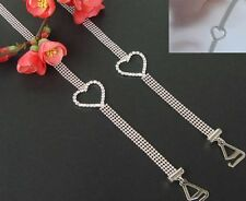 Decorative Bra Straps Four Beaded Rows with Diamante Heart Design 1 pair