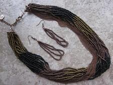 MULTI STRAND MULTI BROWN & BLACK GLASS SEED BEAD MULTI LINK COPPER NECKLACE SET
