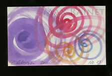Listed Artist = C PETERSON = ACEO ART PAINTING =Watercolor ABSTRACT Swirls No 03