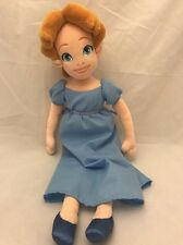 "Disney Store Peter Pan Wendy Darling 21"" Plush Doll Soft Stuffed Lovey EUC RARE"