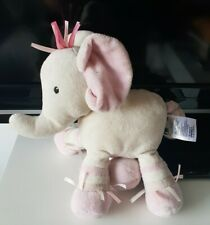 """Mothercare pink white Elephant rattle baby comforter soft toy pull tail plush 8"""""""