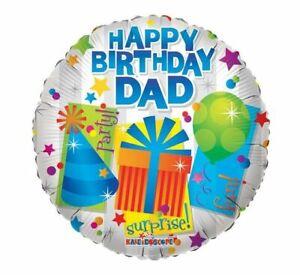 "FANTASTIC SILVER HAPPY BIRTHDAY DAD PRESENTS ROUND 18"" HELIUM FOIL BALLOON"