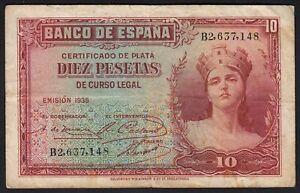1935 10 Pesetas Spain Vintage  Paper Money Spanish Banknote Currency Rare VF