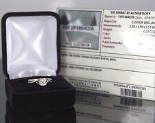 GSI 14k Oro Blanco Solitario 0.77ct Almohadón Anillo De Compromiso Diamante