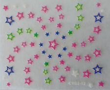 Nail art manucure stickers autocollants ongles: étoiles multicolores