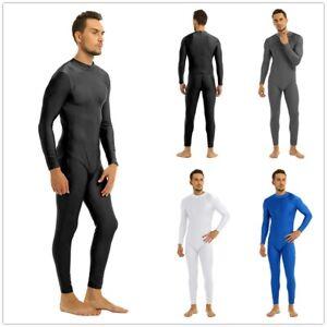 Unisex Men Mock Neck Zipper Skin-Tight Full Body Suit Clubwear Party Costumes