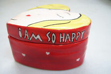 "Rare Bella Casa by Ganz Heart Shape Face Trinket Jewel Box ""I Am So Happy"""