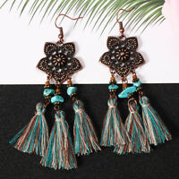 Bohemian Vintage Women Flowers Earrings Long Tassel Fringe Boho Dangle Earrings