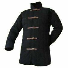 Medieval-Thick-Padded-Bla ck-Gambeson-coat-Aketon-Ja cket-Armor