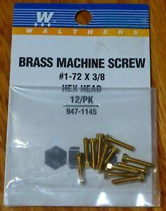 "Walthers #947-1145 / 1-72 Brass Hex Head Machine Screws -- 3/8 x .073"" .95 x .19"