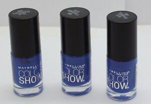 3PK Maybelline Color Show Nail Polish Blue Bombshell 335 .23 oz