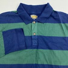 Foundry Polo Shirt Men's 2XLT XXLT Long Sleeve Navy Green Striped 100% Cotton