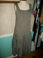 LILITH FRANCE GRAY 100% LINEN LAGENLOOK  MIDI DRESS  MADE IN FRANCE S M