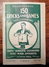 """Vintage 1939 """"150 TRICKS AND GAMES 50 ILLUSTRATIONS""""  by Wehman Bros. NY"""