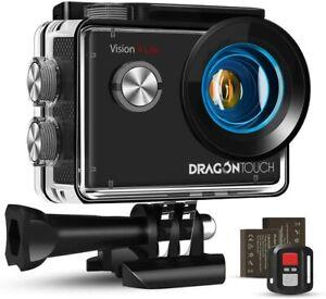 Dragon Touch 4k Action Kamera, 20mp Eis Anti-Shake Unterstützung externes Mikrofon