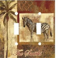 PERSONALIZED AFRICAN SAFARI ZEBRA DOUBLE LIGHT SWITCH PLATE COVER