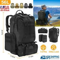 56L Outdoor Military Molle Backpack & 2L Water Bladder Bag Hydration Backpack