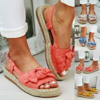 Summer Womens Flatform Sandals Embellished Bow Tie Comfy Holiday Shoes Sizes //