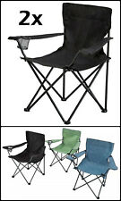 2x Canvas Camping Chairs Fishing Beach Garden Hiking Portable Campervan Folding