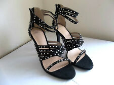 NEW ZARA BLACK DIAMANTE STUDDED HIGH HEELS WITH ANKLE STRAP SANDALS, UK 4 /EUR37