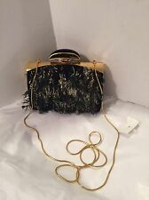 Nina Ricci Black Suede Minaudiere Feather Box Clutch Chain Bag $3490