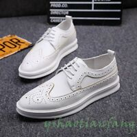 2019 New Fashion Mens England Brogue Carving Lace Up Board Shoes Casual Dress SZ