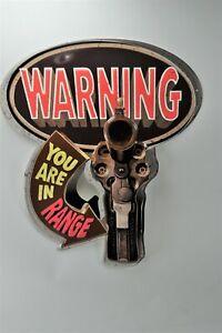 "Metal Tin Sign, WARNING - You Are In Range w/Hand Gun Sign, 19.25"" x 15.5"""
