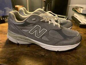 New Balance M990 V3 Grey Men US 10.5 Running Sneakers Shoes M990GL3 D