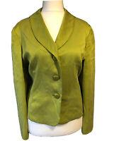 HOBBS Women's UK 14 Tailored Silk Jacket Blazer Asparagus Green Formal Party